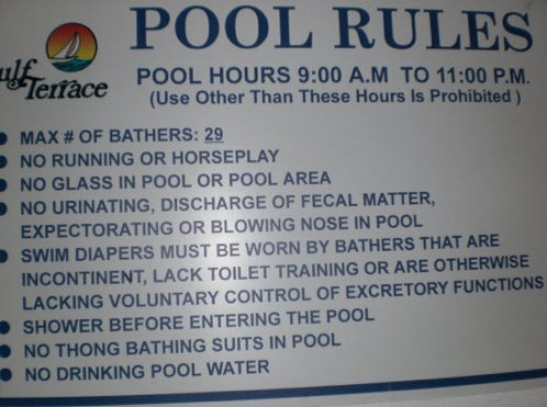 Pool rules at florida condo complex boing boing - Florida condo swimming pool rules ...