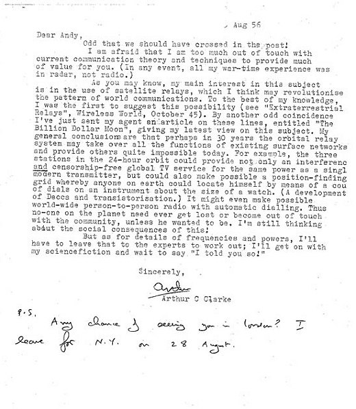 Lettre En Anglais: Arthur C. Clarke Predicted Satellite TV And GPS In The 40s