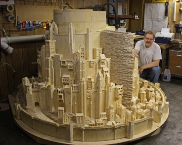 Tolkien 39 s city of kings made from matchsticks boing boing for Cool simple wood projects