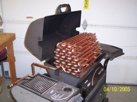 Howto use a bbq grill to heat a pool boing boing - Homemade swimming pool heat exchanger ...