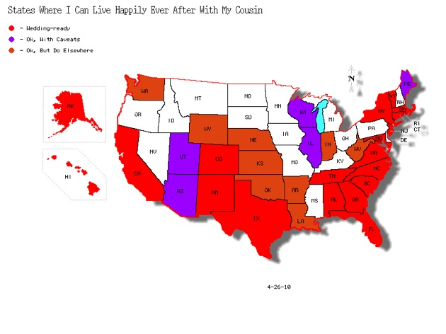 Map Of Us States Where First Cousin Marriage Is Legal
