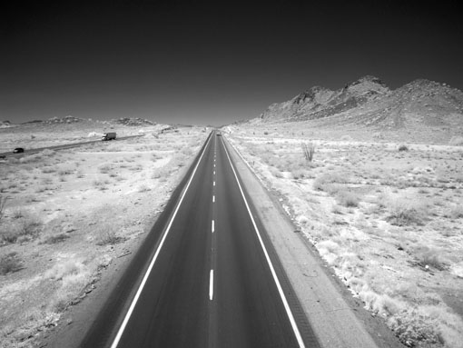 Desert highway in infra-red