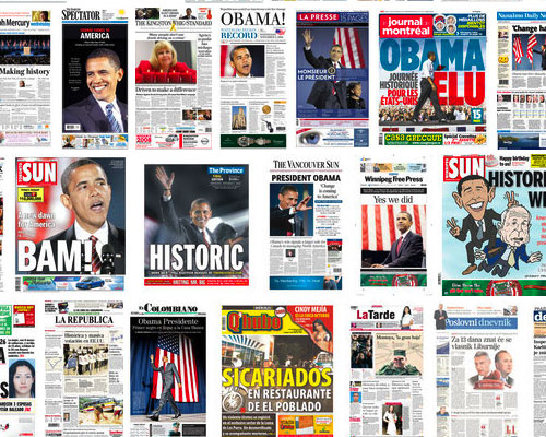 Newspaper headlines of Obama election win, Nov. 5 2008 – Boing Boing