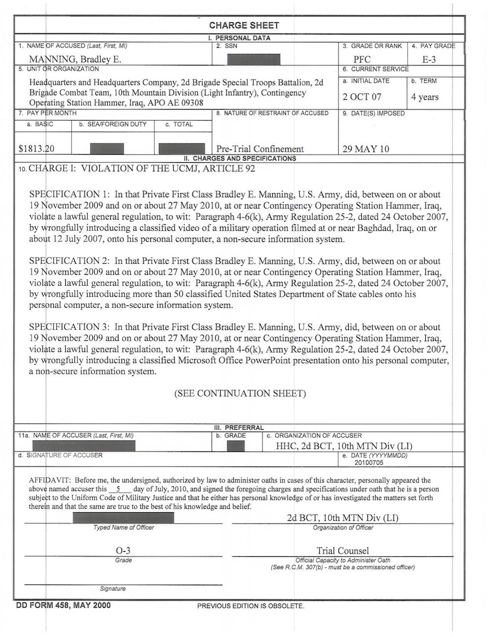 Manning charge sheet, page 1