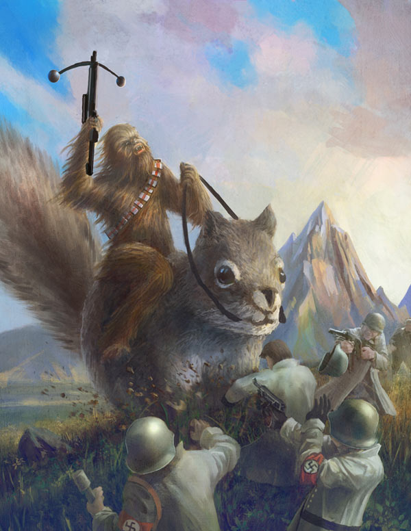 Chewbacca on squirrel fighting Nazis. (Huh?)