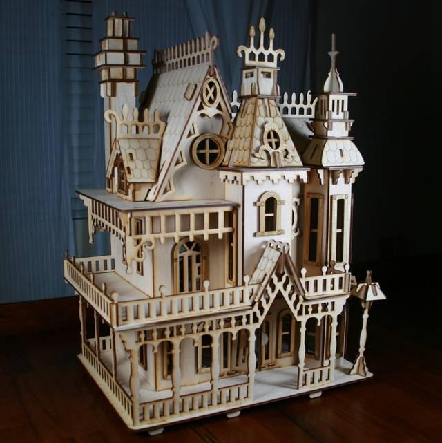 Ornate laser cut birchwood victorian dollhouse boing boing - Bbs dollhouse ...