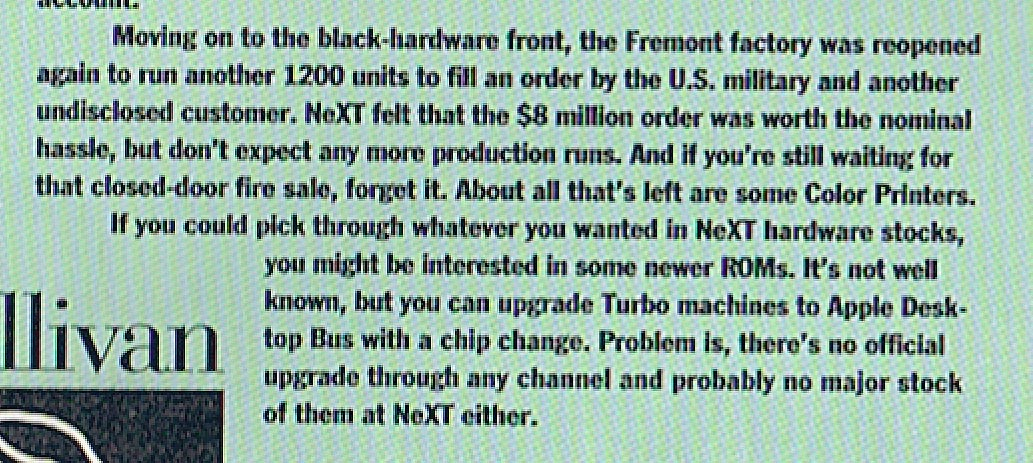 A blurb from NeXTWorld in June/July 1993 about the factory re-opening for one last producton run.
