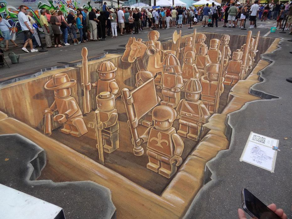 LEGO chalk street art