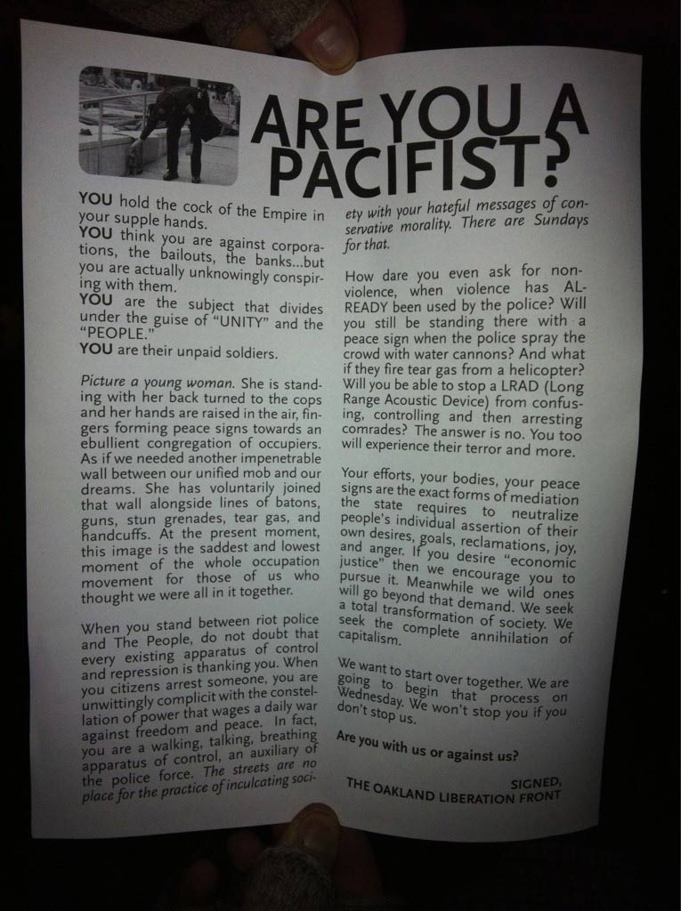 Provocateurs Circulate Anti nonviolence Flyers At Occupy Oakland Protests ooantipeace