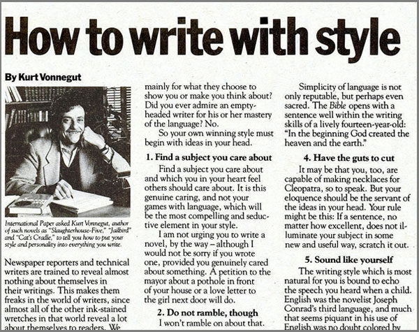 How To Write With Style By Kurt Vonnegut The   Diwali Essay In English Examples Of A Thesis Statement In An Essay How To Write With Style By Kurt Vonnegut The   Essays Paying College Athletes also Business Etiquette Essay