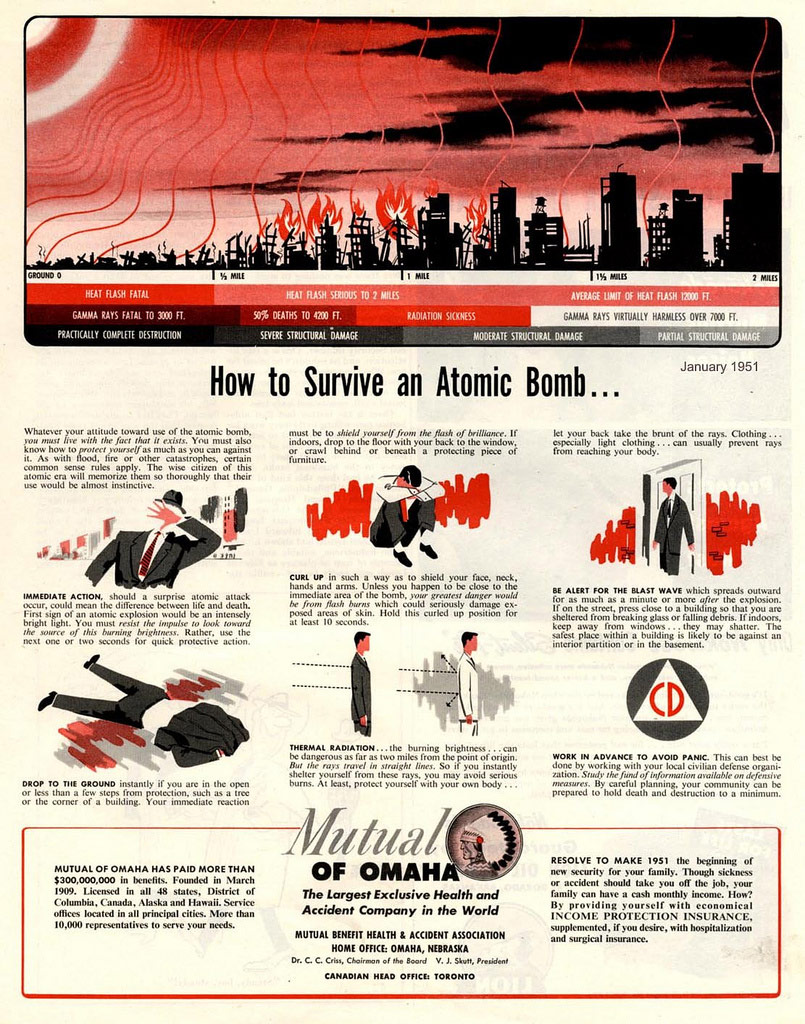How to survive an atomic bomb explosion insurance company ad from 1951