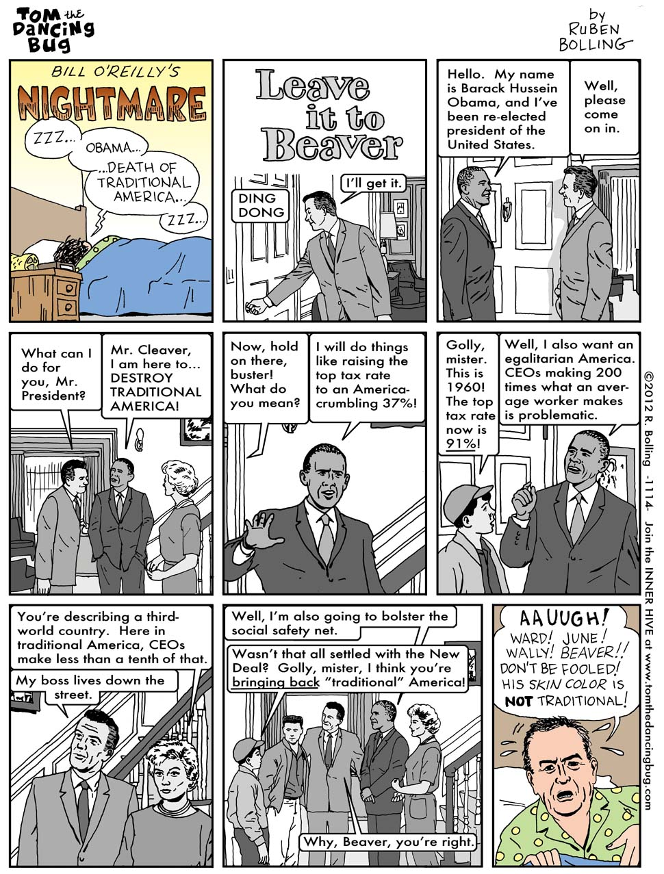 "A comic from Reuben Bolling that puts ""traditional America"" into an actual historical perspective."