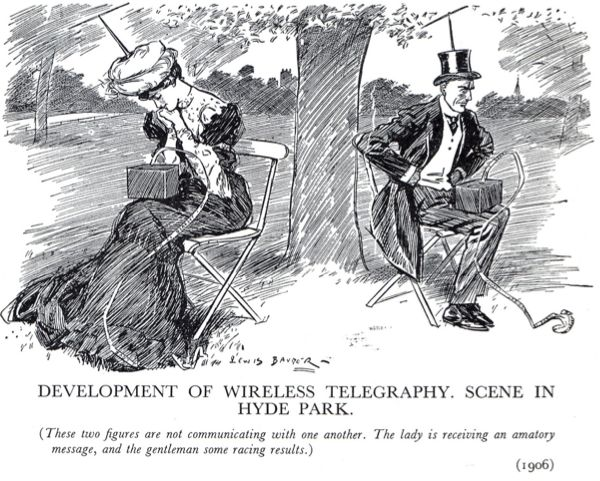 Couple engrossed in their wireless devices ignore each other (1906)