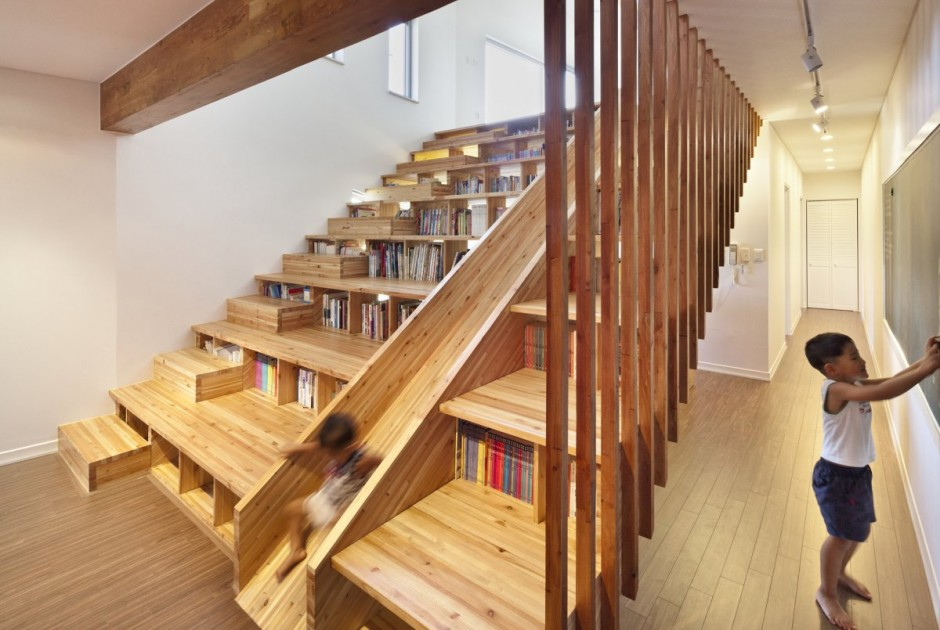 Bookcase staircase slide boing boing - Stairs design inside house ...