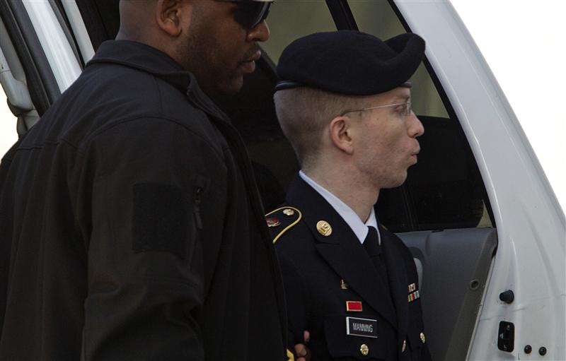 U.S. Army Pfc. Bradley Manning arrives at the courthouse during his court martial at Fort Meade in Maryland August, 20, 2013. REUTERS/Jose Luis Magana