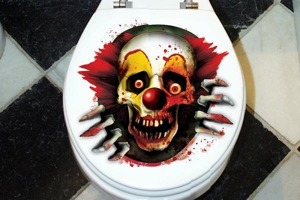 Supernatural evil clown toilet lid decal boing boing for Decoration de porte halloween