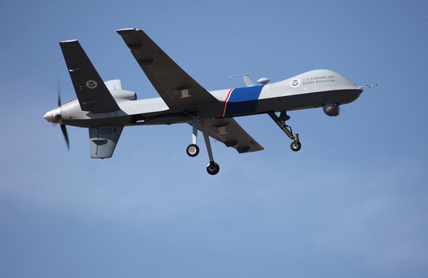 This undated file photo provided by U.S. Customs and Border Protection shows an unmanned drone used to patrol the U.S.-Canadian border.  [Reuters]