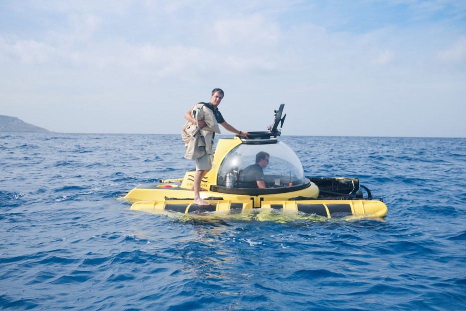 Two U-Boat Worx crew members prepare the C-Explorer 2 for a dive.