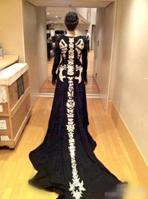 Skeletal Gown With Dragons Tail Train