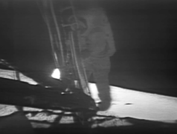 NASA, via Wikipedia: Neil Armstrong descends a ladder to become the first human to step onto the surface of the Moon.