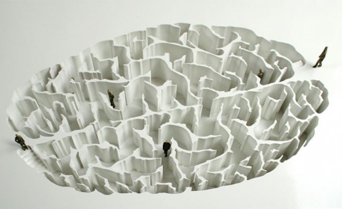 "Yoan Capote, Open Mind, 2008."" A project to build an underground park made with walls that create a labyrinth similar to the human brain.""  People become metaphors for neurons transmitting information as they walk around the maze - the intention being to inspire refle"