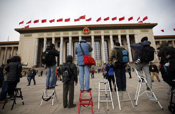 Journalists waiting outside the Great Hall of the People during the Chinese People's Political Consultative Conference in Beijing in March. Kim Kyung-Hoon/Reuters