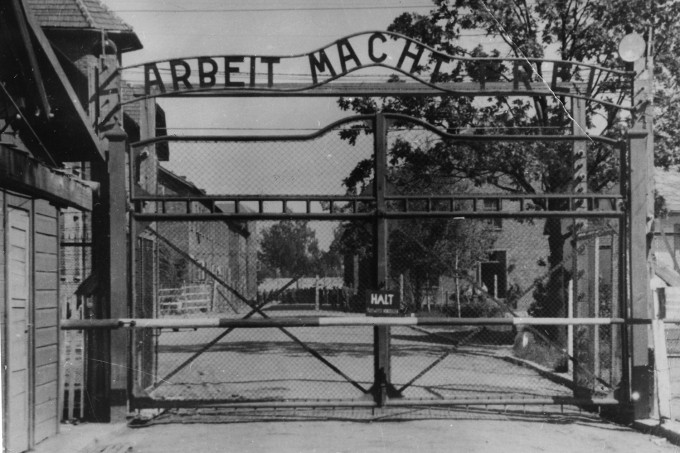 "This undated photo shows the main gate of the Nazi concentration camp Auschwitz I, which was liberated by the Russians in January 1945. Writing  at  the gate reads: ""Arbeit macht frei"" (Work makes free - or work liberates)."