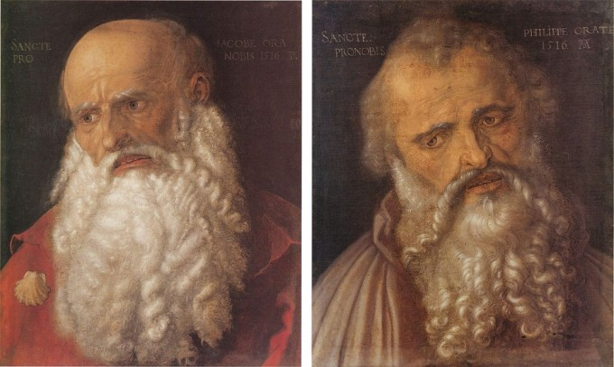 The Apostle Jacob (left) and the Apostle Philippus (right), by Albrecht Dürer, 1516 – Source: left and right.