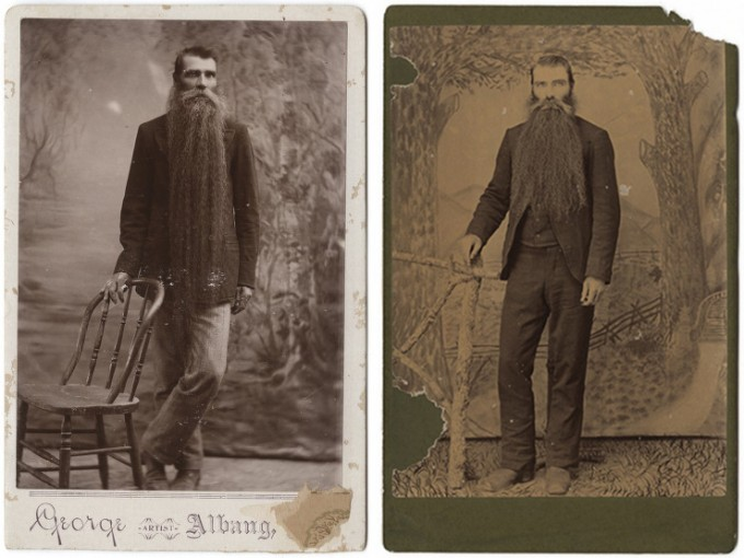 Two photographs of the same unknown man, each taken at a different studio in Texas
