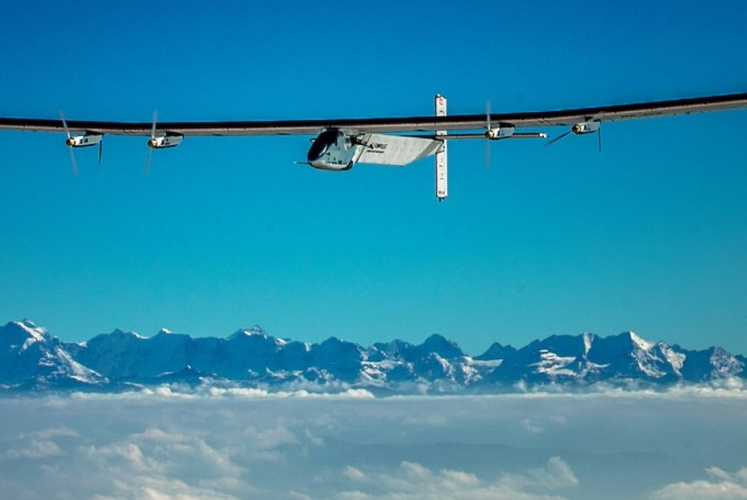 A photo from a recent test flight of the Solar Impulse aircraft.