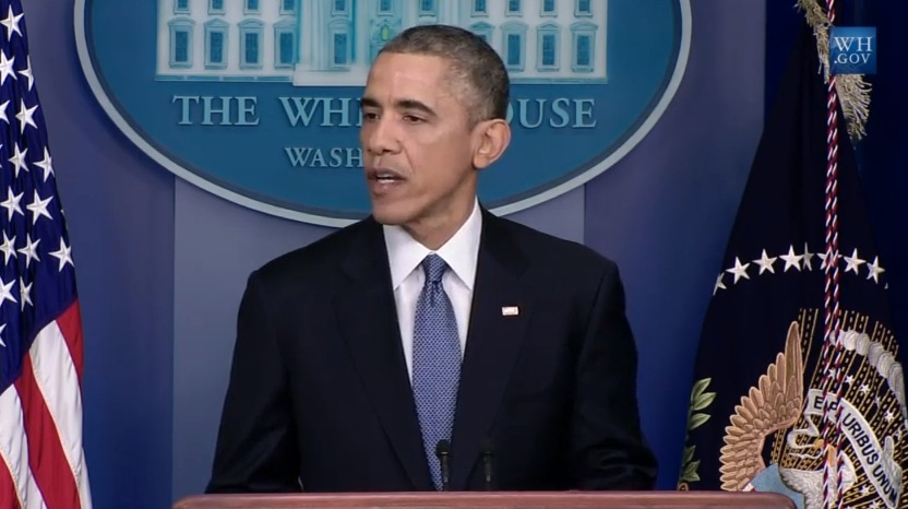 Screengrab from White House live stream of President Obama's final press conference of 2014, on December 19, 2014.