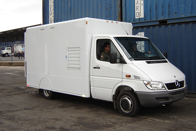 The Z Backscatter Van can scan while driving alongside a line of vehicles or while parked as they pass by. (American Science and Engineering Inc.)