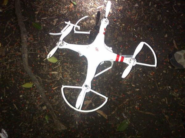 Quadcopter that crashed on the White House lawn. Photo via US Secret Service, via Jim Acosta's Twitter.