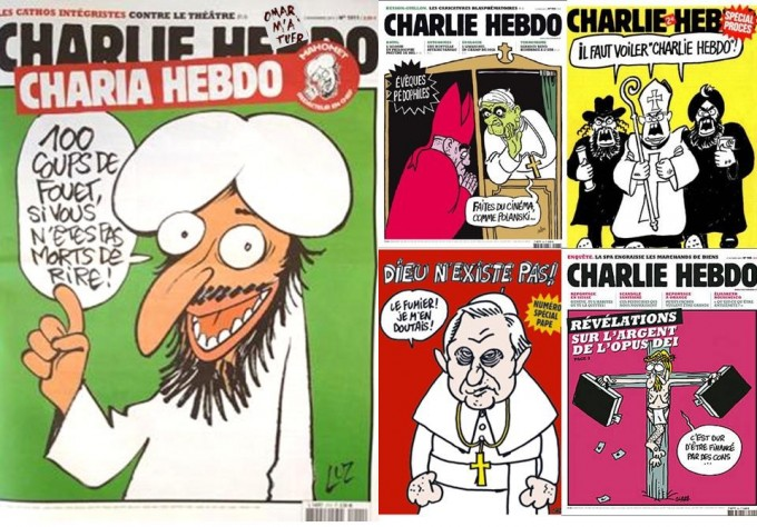Past covers of the Charlie Hebdo magazine.