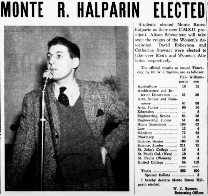Monty Hall elected march 1 1944 The manitoban