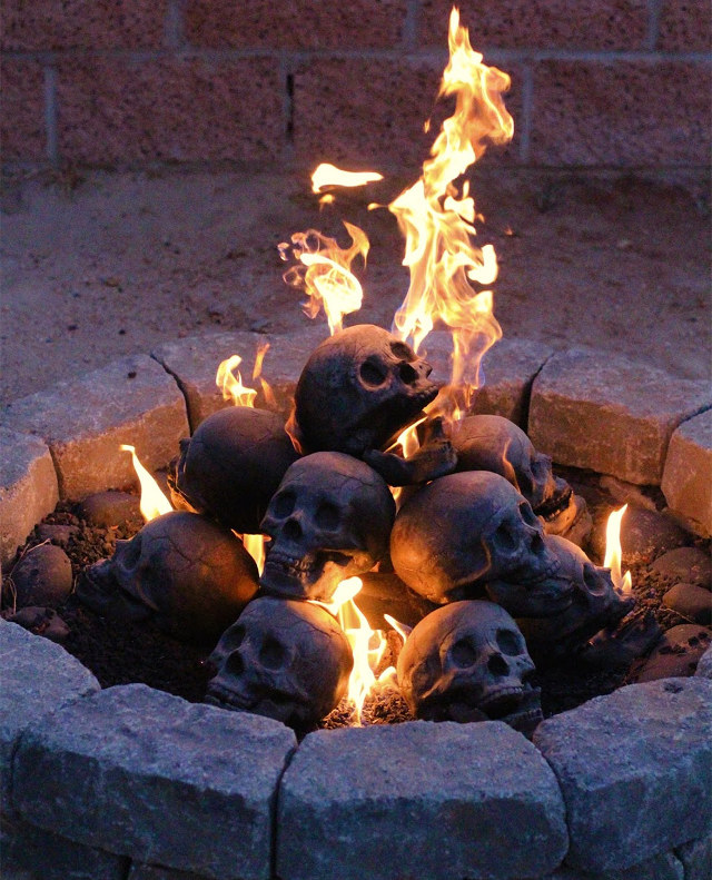 fireproof human skulls for your gas fireplace barbeque or fire