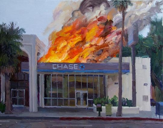 Artist specialized in paintings of Chase bank on fire