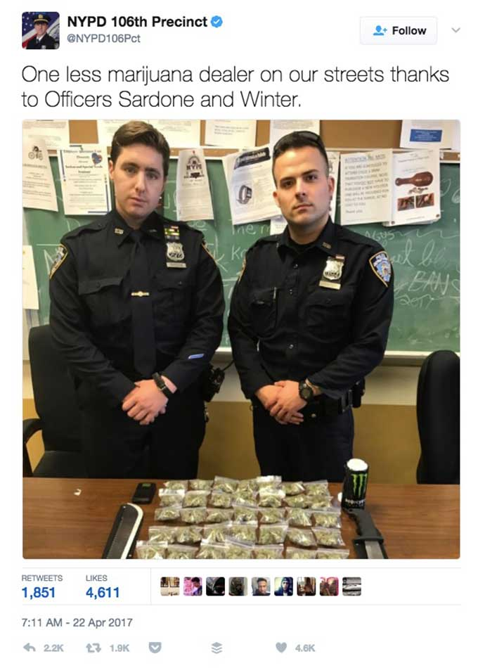 "NYPD boasts about small-time weed bust, NY says ""apologize and give it back"""