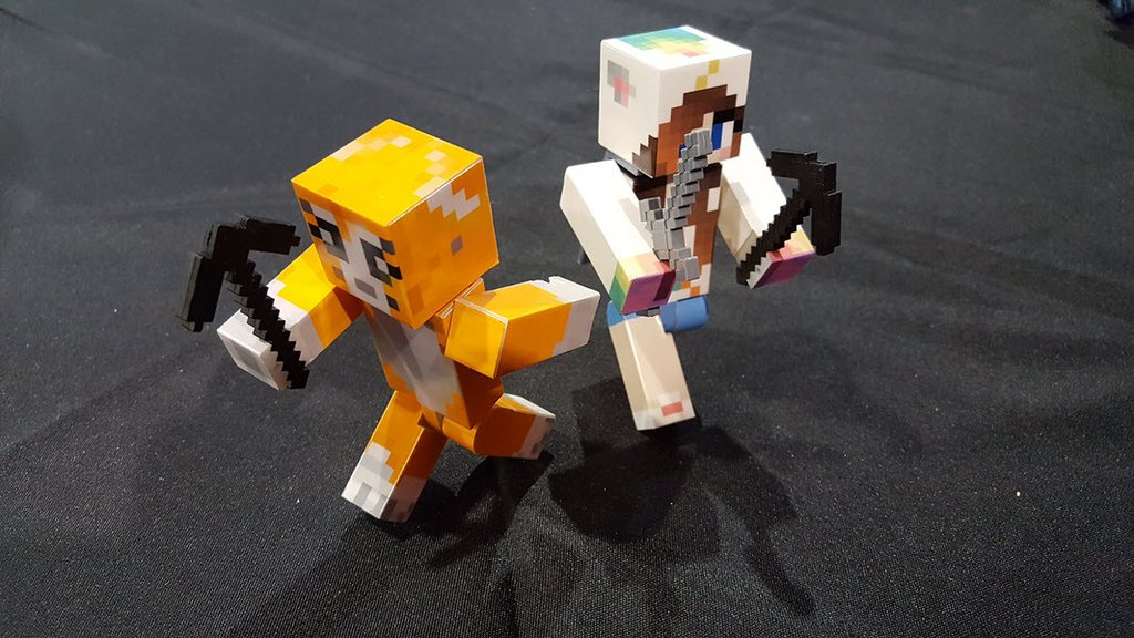 Custom Minecraft figs with glowing eyes and swords